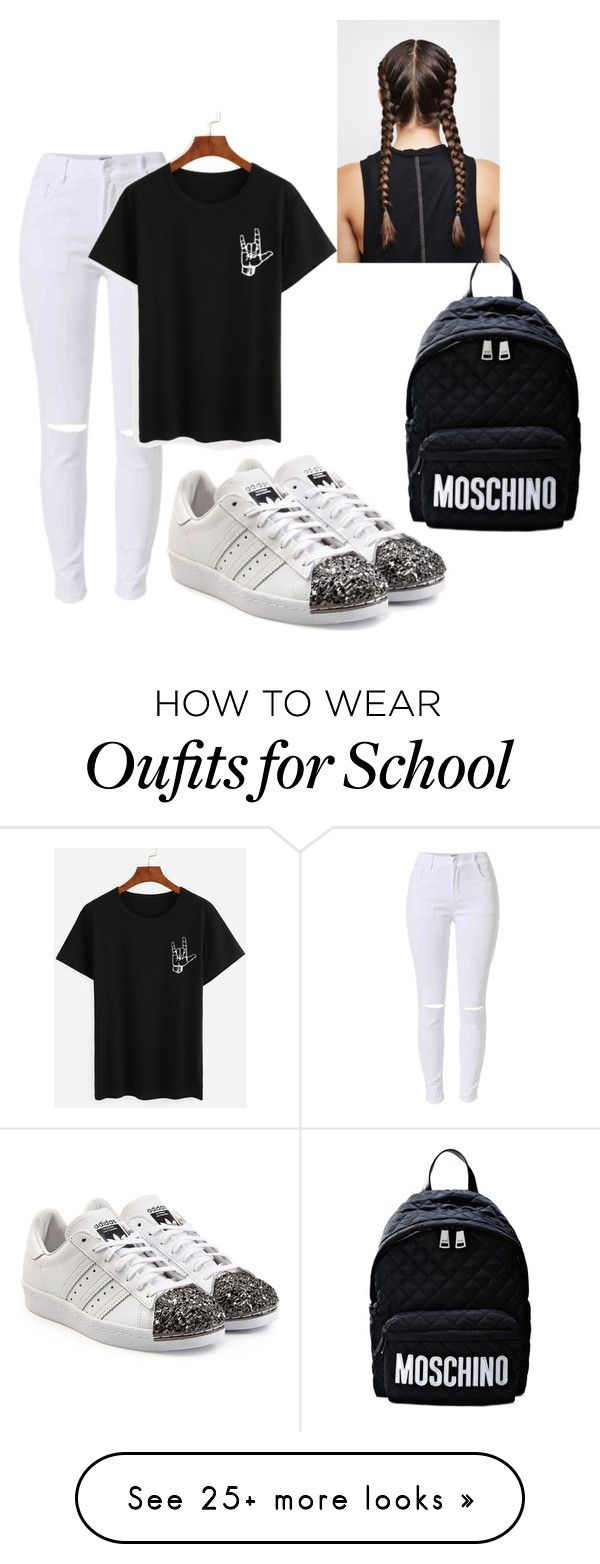 """back to school"" by fashionlover4562 on Polyvore featuring adidas Originals and Moschino"