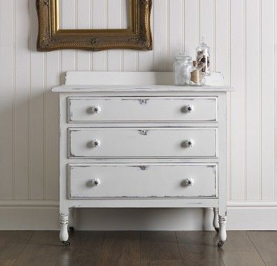 Chest of drawers painted in Chalk White.