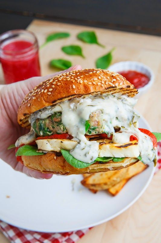 Spinach and Feta Chicken Burgers (aka Spanakopita Burgers) with Grilled Halloumi, Roasted Red Peppers and a Spinach and Feta Sauce