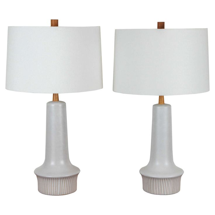 Pair of Ceramic Martz Lamps with Sgraffito Striped Base | From a unique collection of antique and modern table lamps at https://www.1stdibs.com/furniture/lighting/table-lamps/