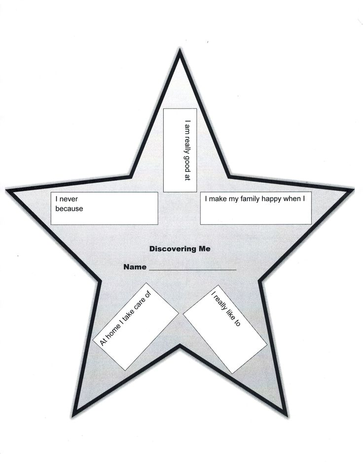 Discovering Me Star from the Brownie Quest Journey.  I created this version in Word because I could not get the star from the journey book to photo copy.