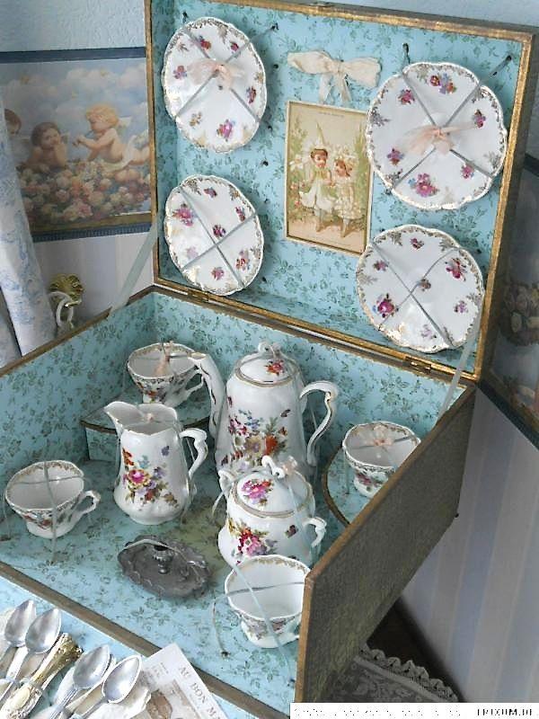 French porcelain dolls tea set.