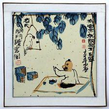 Китайский дзен живопись мужчина с птицей любовь животных арт