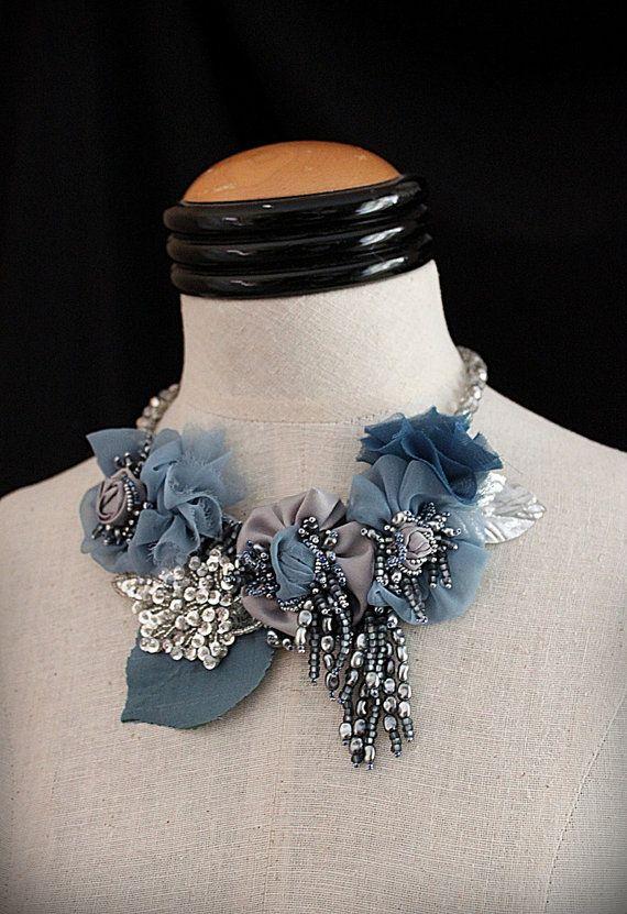 JEAN Blue Silver Mixed Media Statement Necklace di carlafoxdesign, $295.00