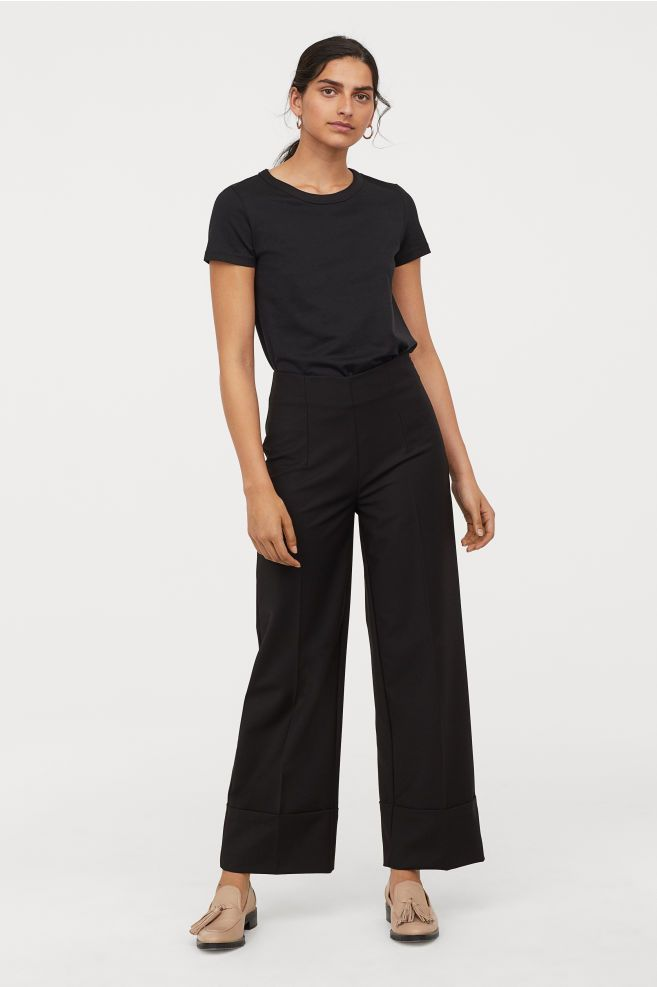 7a7e0e84f88 H&M Wide-leg Suit Pants - Black in 2019 | REINVENT. | Hög midja