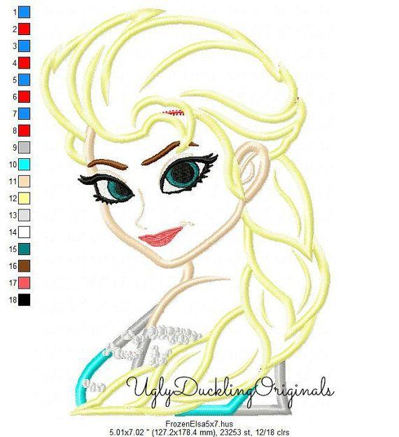 Frozen Elsa Princess Machine Embroidery Applique Design