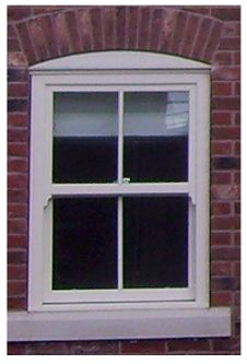 Reinstate sash window. Milky glass on bottom panes, clear glass on top panes.