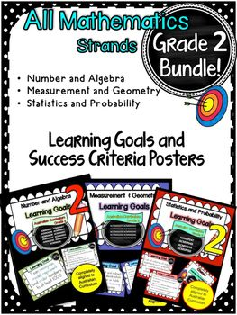 This+packet+has+all+the+posters+you+will+need+to+display+the+learning+goals+for:Grade+2+Australian+Curriculum+Maths-+Number+and+Algebra-+Measurement+and+Geometry-+Statistics+and+Probability.+All+content+descriptors+have+been+reworded+into+smart+goals+with+an+accompanying+poster+showing+the+success+criteria+needed+to+achieve+these+goals.
