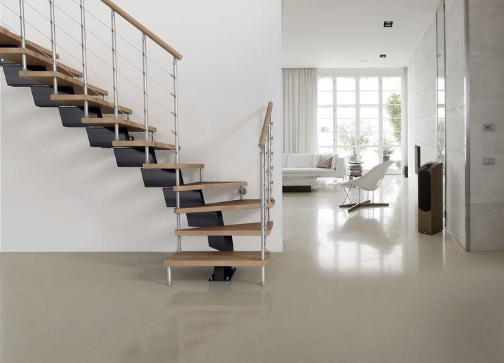 Escalier quart tournant limon central marches en bois garde corps en ac - Echelle pour escalier tournant ...
