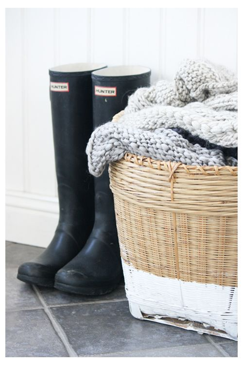Hunters and cosy scarfs at hand - I'd pick a different basket though..