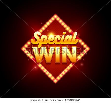 Gambling sign with lamp Special Win banner. Vector illustration design with poker, slot machines, playing cards, web game, mobile game, slots and roulette.