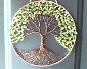Peridot Olive Tree, Wire Tree of Life Wall Hanging, Sun Catcher, Peridot, Green Decor, Wisdom, Peace, Earth
