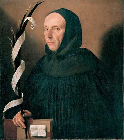 Fantasy portrait of Girolamo Savonarola by Moretto da Brescia, c. 1524.