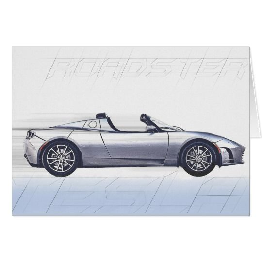 Tesla Roadster Greeting Card available at Zazzle