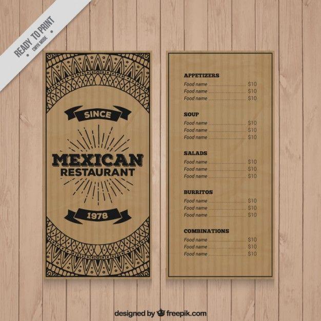 Картон мексиканскую дизайн меню ресторана Бесплатные векторы