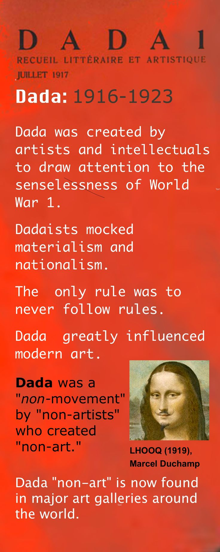 dadaism and surrealism Modern surrealism is a cultural and art movement that started in the 1920s it encompasses all forms, such as art, sculpture, music, literature, film and philosophy surrealism is a sandbox of the human subconscious mind.