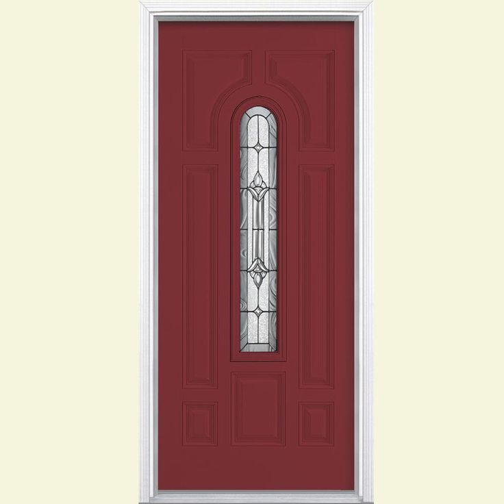 Masonite Providence Center Arch Painted Smooth Fiberglass Entry Door with Brickmold - 24819 at The Home Depot