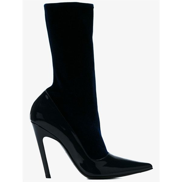 Balenciaga Balenciaga Stretch Bootie (£435) ❤ liked on Polyvore featuring shoes, boots, ankle booties, pointed-toe ankle boots, black bootie boots, high heel boots, short boots and pointy-toe ankle boots
