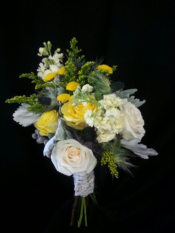 Yellow, gray and cream bridal bouquet