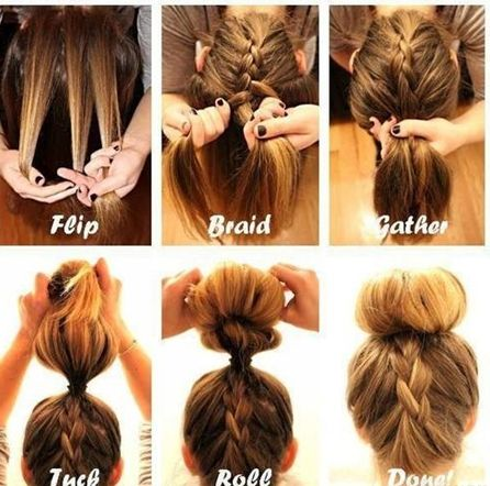 I pretty much already do this but a different bun, so, pinning for the bun technique. #hairstyles hair styles for long hair