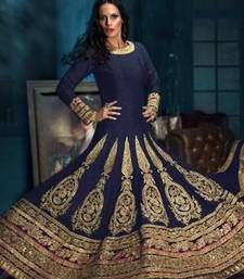 Buy Gold and blue georgette embroidered semi stitched salwar with dupatta party-wear-salwar-kameez online