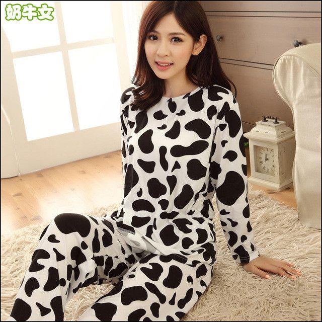New women long-sleeve carton sleepwear pajama sets female nightwear lady Pyjamas nightgowns teenage pijamas home clothes