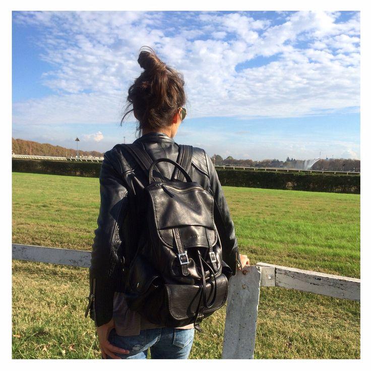Lunch at 1000 Rosa Negra #turf  w/ Black Backpack #fashion #lifestyle #handbag #design #backpack #black #buenosaires