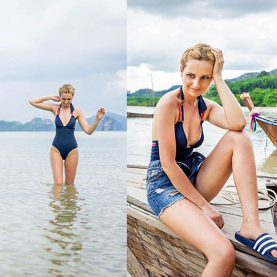 Get this look: http://lb.nu/look/8718795  More looks by Adriana M.: http://lb.nu/lilicons  Items in this look:  Tommy Hilfiger Navy One Piece Swimwear, Adidas Flipflops, Topshop Mom Shorts   #casual #minimal #romantic #streetstyle #lookbook #lookbooker #swimsuit #outfit #blogger