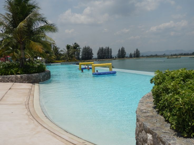 Infinity Pool overlooking the Wakeboard Park at Black Mountain Water Park in Hua Hin, Thailand