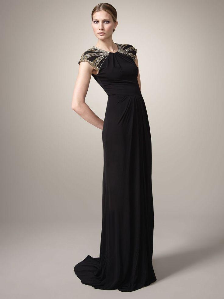 Jewel Neck Beaded Chiffon Floor Length Chic Formal Dresses
