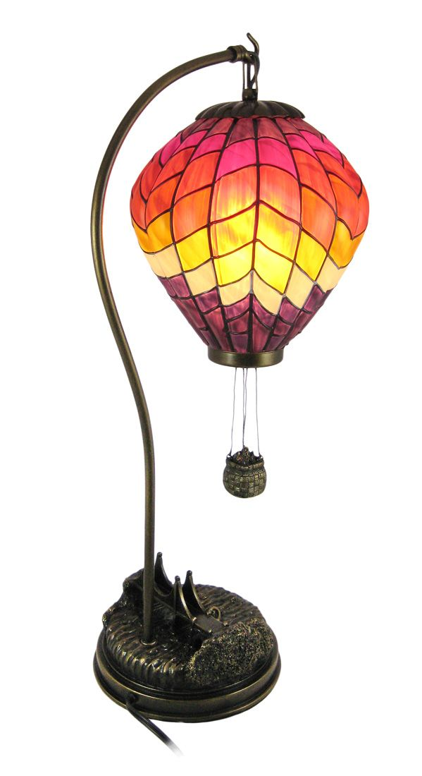 hot air balloon lamps details about large stained glass hot air balloon table lamp accent. Black Bedroom Furniture Sets. Home Design Ideas