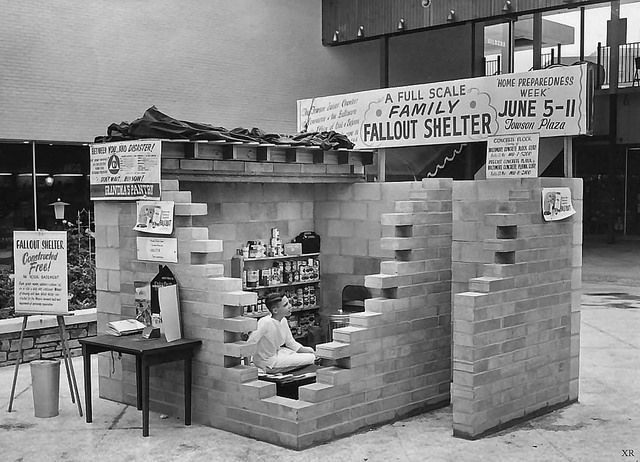 Between you and disaster! ~ Family Fallout Shelter on display for sale, 1960.