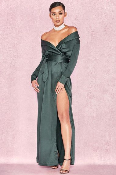 731f719a0df Clothing   Max Dresses    Antoinette  Evergreen Satin Off Shoulder Maxi  Wrap Dress