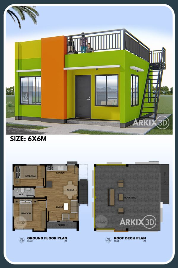 2 Bedroom Small House With Roof Deck No 0021 House Construction Plan Modern Bungalow House Tiny House Plans Small Cottages