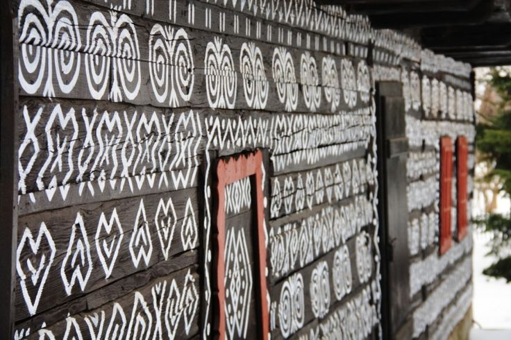 Traditional painted houses in the village Cicmany. Listed in UNESCO