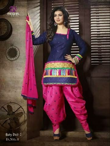 Beautifully Designed Navy Blue Patiyala Dress in Cotton with awesome embroidery work done. Comes along with Pink contrast matching finely embroidered Bottom and Duppatta.