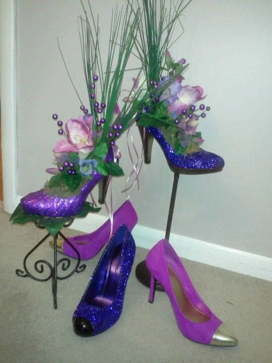 Shoe centerpieces by designs cj flower pinterest