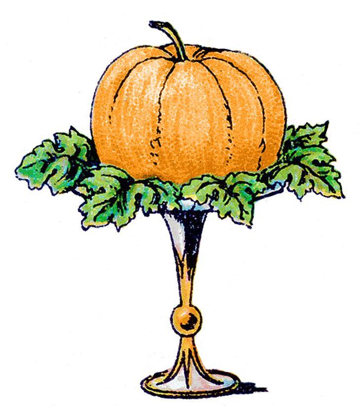 Vintage Clip Art - Pumpkin on a Pedestal | Autumn | Pinterest
