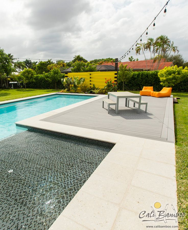 95 best images about composite decking on pinterest for Low maintenance pool landscaping