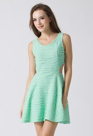 Cut Out Textile Mint Dress #Chicwish