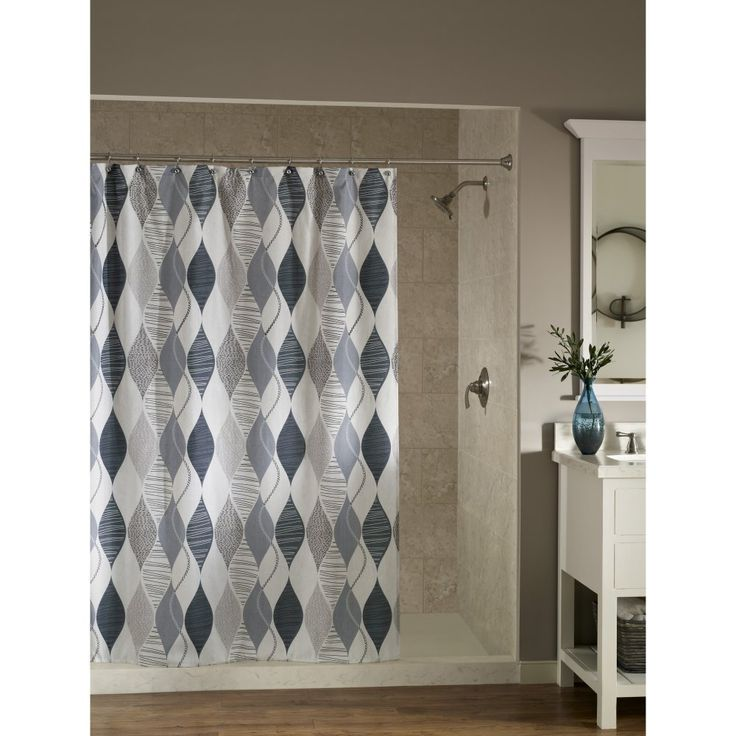 Swivel Modern Argyle Diamond Polyester Shower Curtain Gray White By M Style New