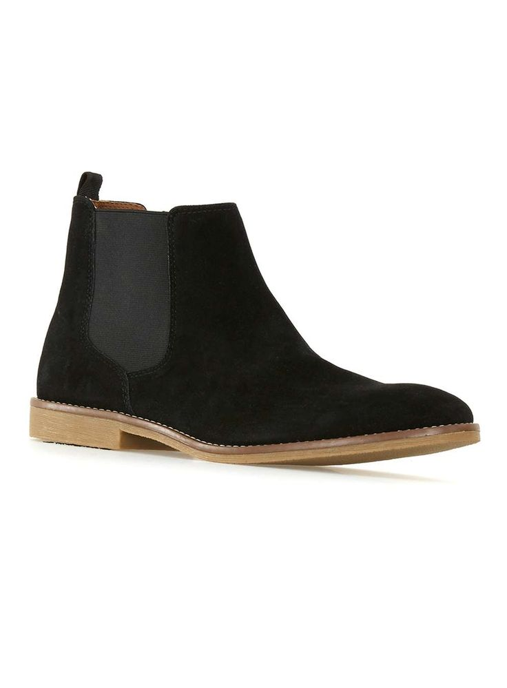 Topman Black Faux Suede Chelsea Boots