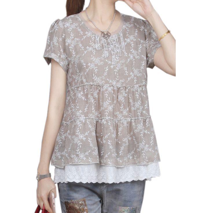 2017 Summer Vintage Blouse Women Casual Short Sleeve Floral Print Cotton Linen Tops Lace Patchwork Loose Plus Size Women Blusas