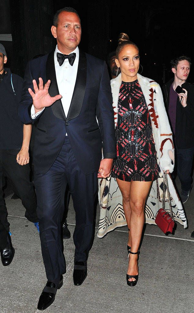 Jennifer Lopez & Alex Rodriguez from 2017 Met Gala After-Parties: What the Stars Wore  JLo swapped her powder blue gown for a short, patterned dress while A-Rod looked as handsome in a classic tux.