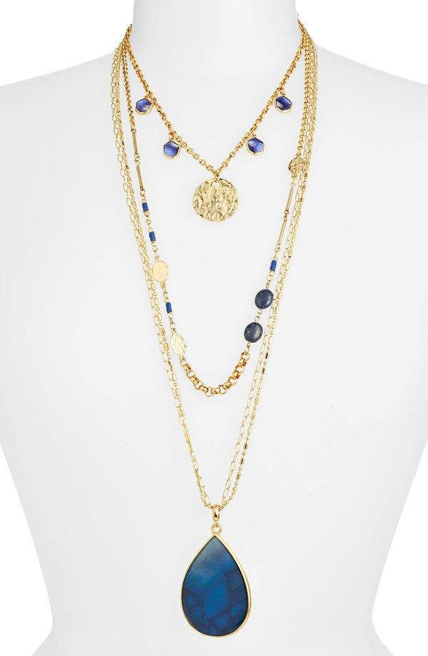 Layering made easy   Multistrand Stone Pendant Necklace