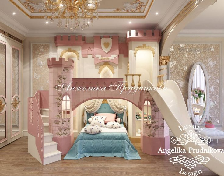 Дизайн интерьера детской спальни для девочки в загородном доме Санкт-Петербурге - фото