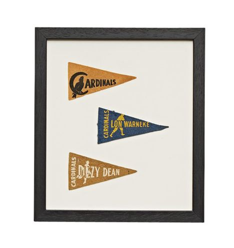 Framed Collection of Petite Caridnals Baseball Pennants