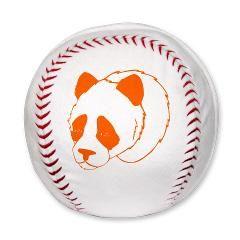 Sierkussen honkbal met oranje pandabeer.