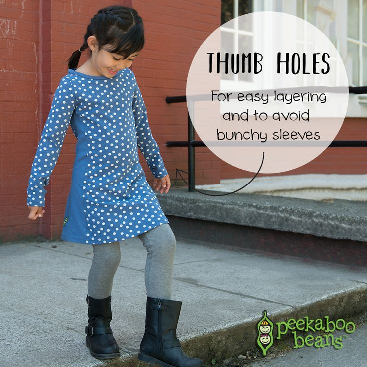 Winter Wonder Dress!  This long-sleeved dress features princess seams that are perfect for all her whirling and twirling. The solid panelling on the sides are a nice complement to the main polka dot print. Princess fit