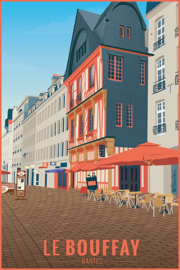 Travel Poster - Nantes - Le quartier du Bouffay - by @Marion Point.